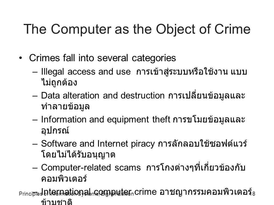 The Computer as the Object of Crime
