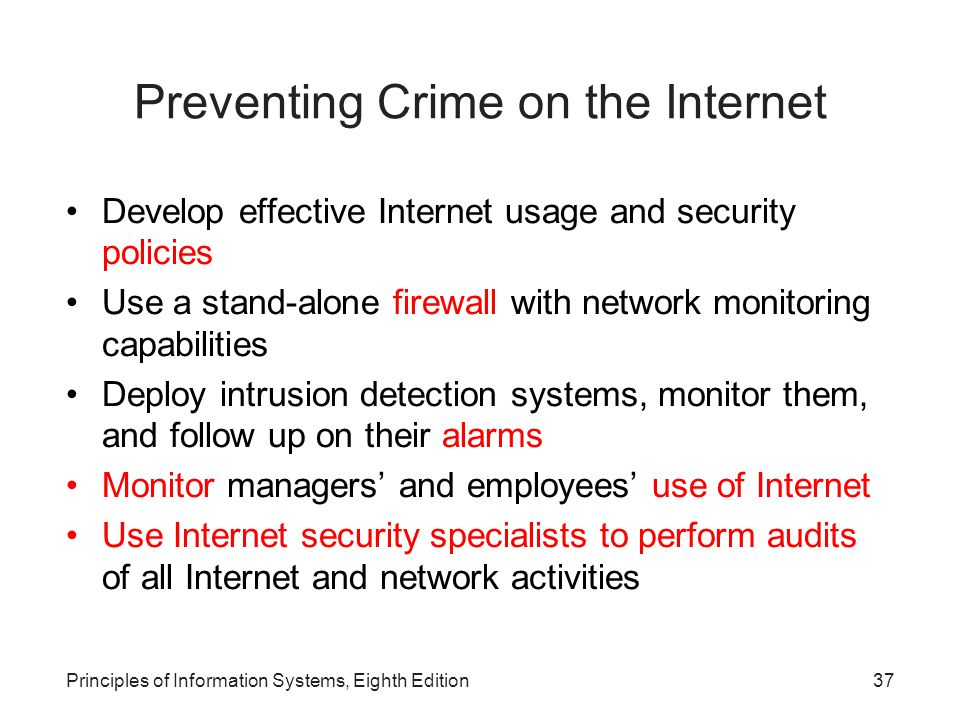 Preventing Crime on the Internet