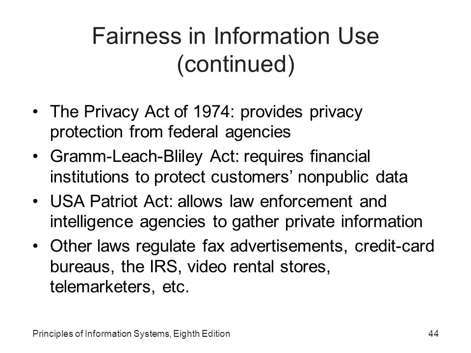 Fairness in Information Use (continued)