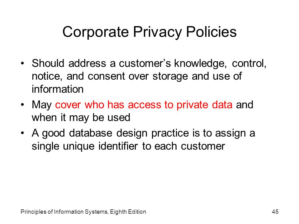 Corporate Privacy Policies