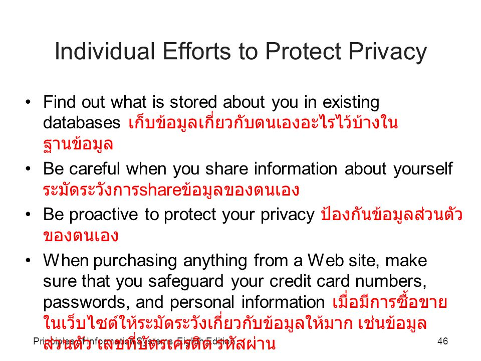 Individual Efforts to Protect Privacy