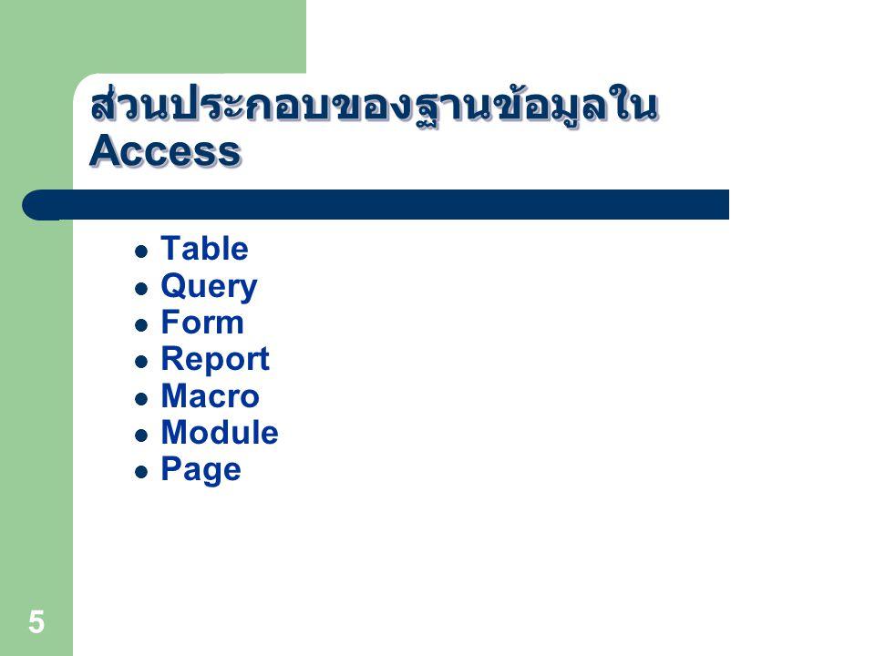 ส่วนประกอบของฐานข้อมูลใน Access