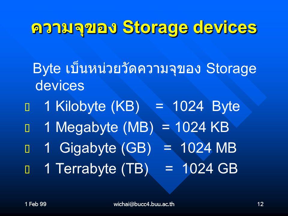 ความจุของ Storage devices