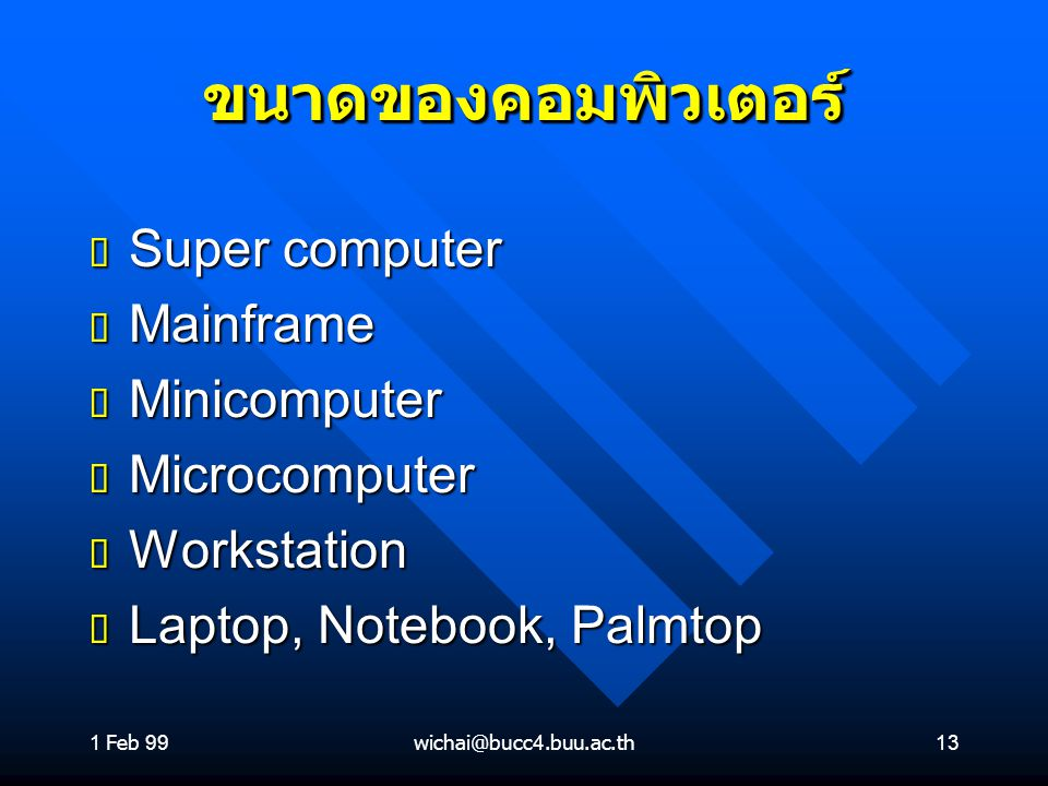 ขนาดของคอมพิวเตอร์ Super computer Mainframe Minicomputer Microcomputer