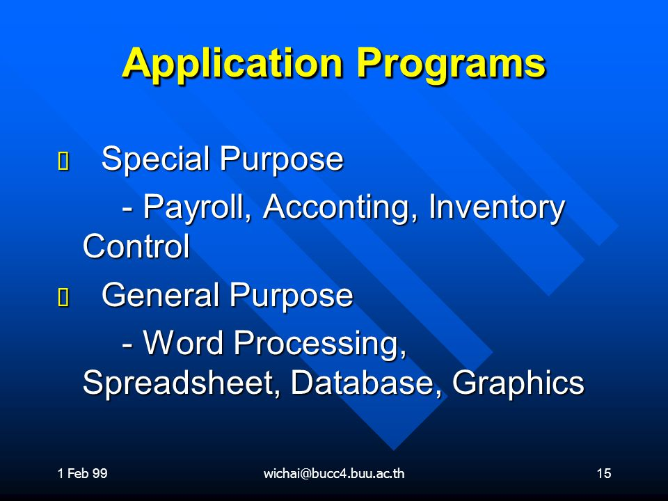 Application Programs Special Purpose