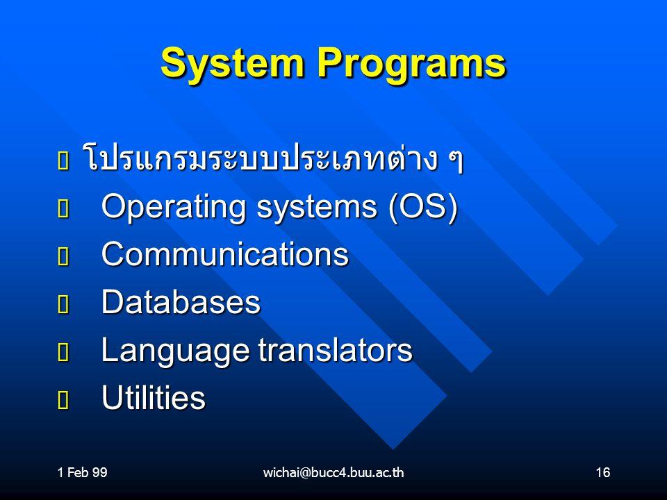 System Programs โปรแกรมระบบประเภทต่าง ๆ Operating systems (OS)