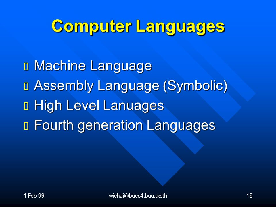 Computer Languages Machine Language Assembly Language (Symbolic)