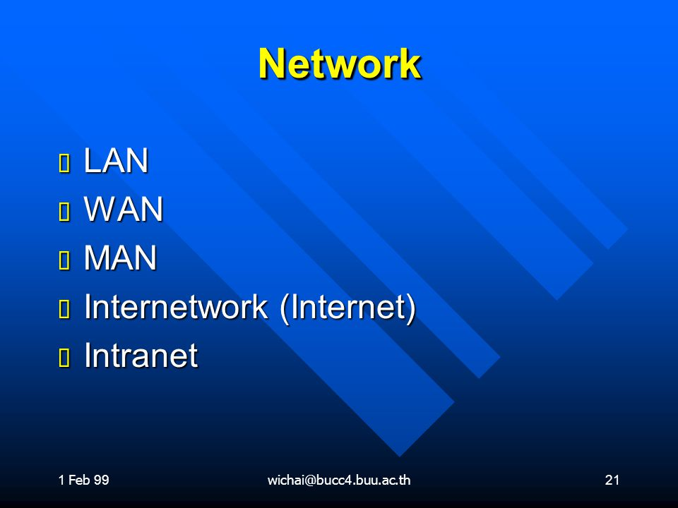 Network LAN WAN MAN Internetwork (Internet) Intranet 1 Feb 99