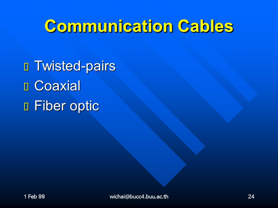 Communication Cables Twisted-pairs Coaxial Fiber optic 1 Feb 99