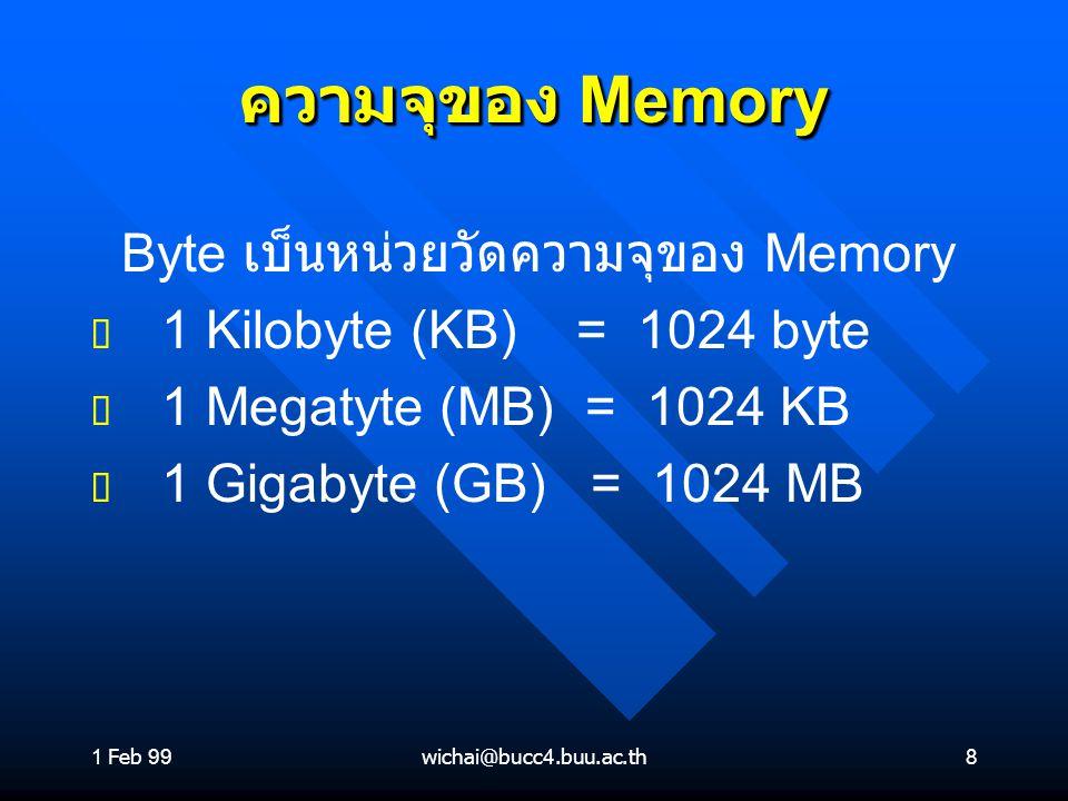 ความจุของ Memory Byte เบ็นหน่วยวัดความจุของ Memory