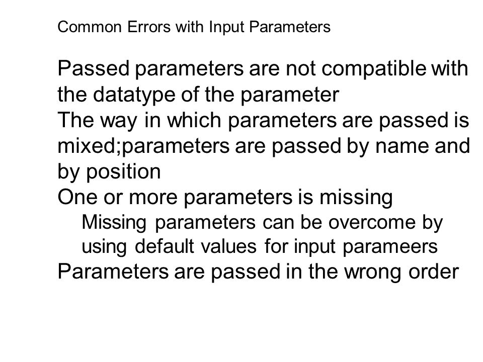 One or more parameters is missing