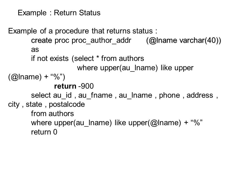 Example : Return Status