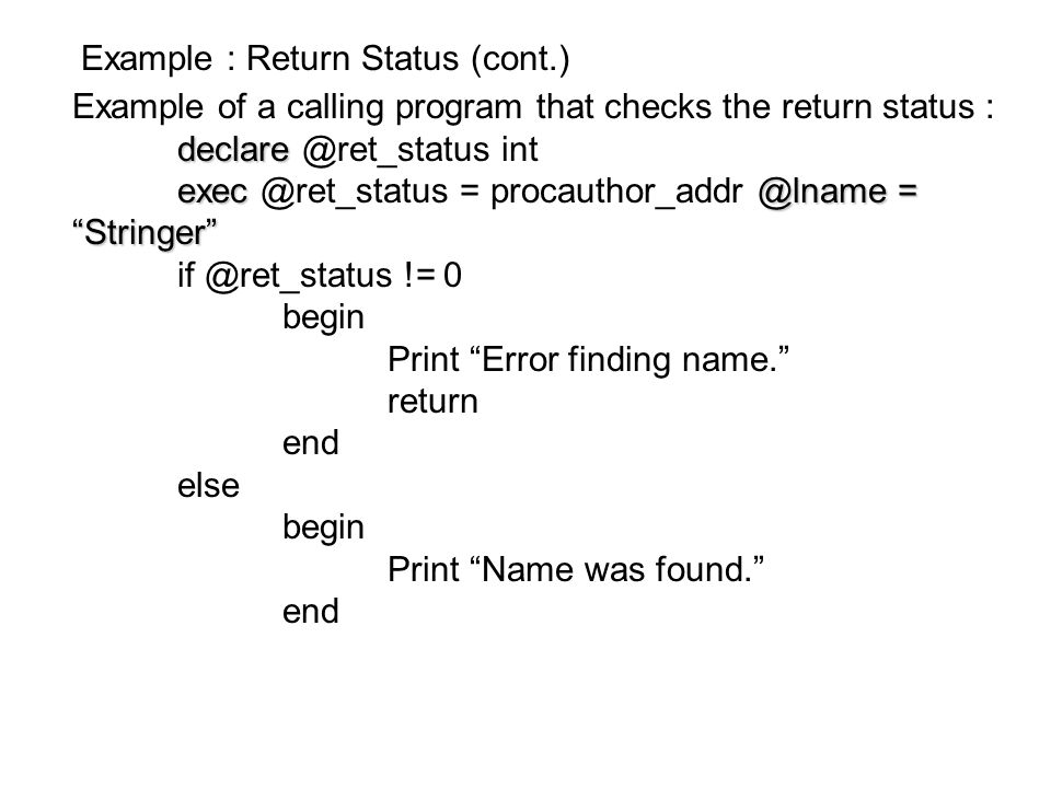 Example : Return Status (cont.)
