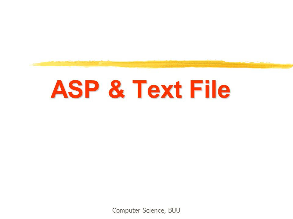 ASP & Text File Computer Science, BUU