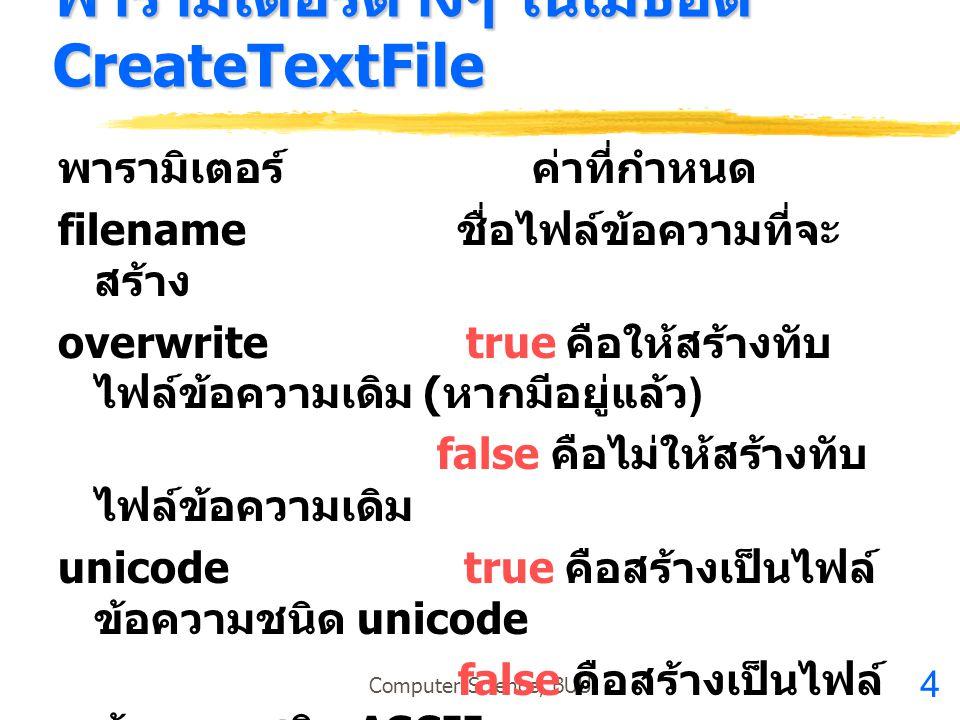 พารามิเตอร์ต่างๆ ในเมธอด CreateTextFile