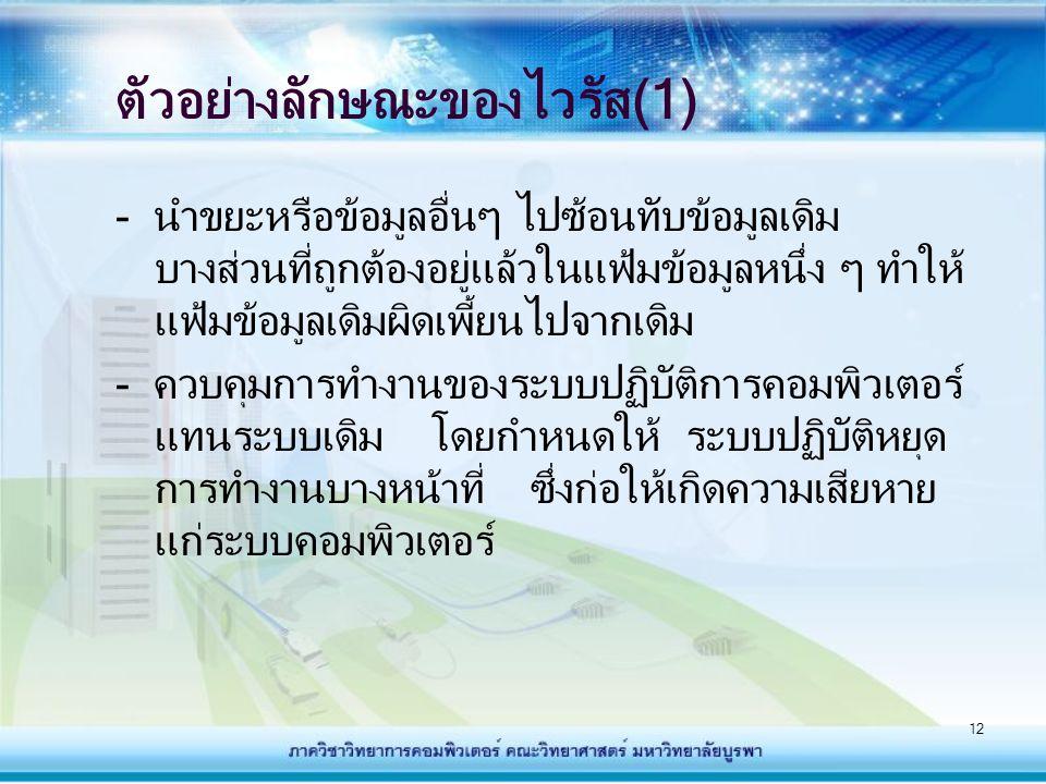 ตัวอย่างลักษณะของไวรัส(1)