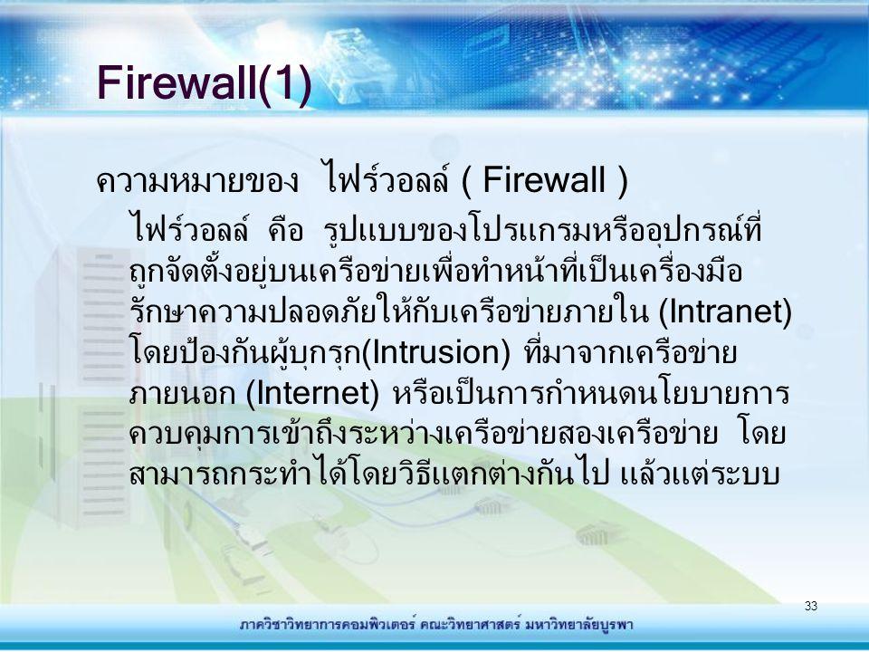 Firewall(1) ความหมายของ ไฟร์วอลล์ ( Firewall )