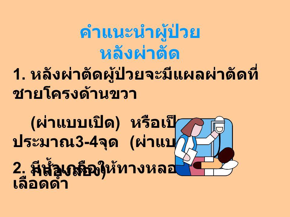 คำแนะนำผู้ป่วยหลังผ่าตัด