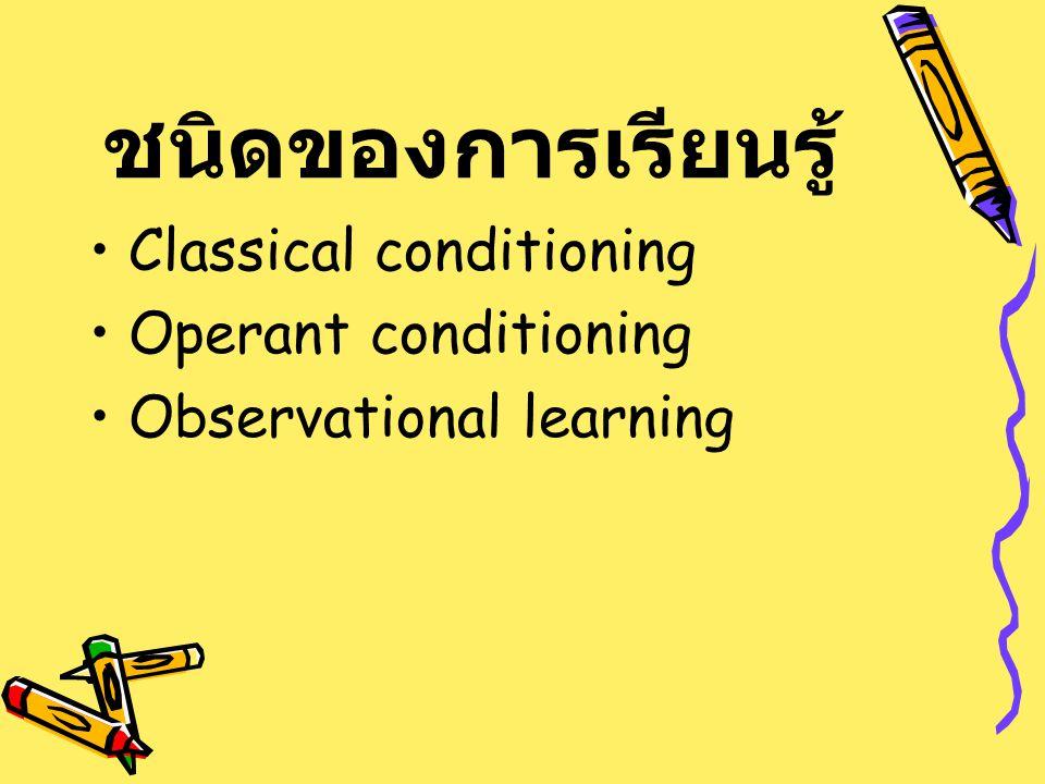 ชนิดของการเรียนรู้ Classical conditioning Operant conditioning