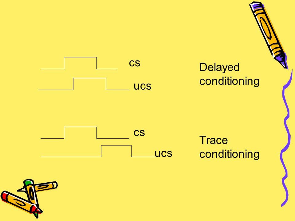 cs Delayed conditioning ucs cs Trace conditioning ucs