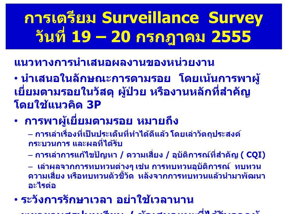 การเตรียม Surveillance Survey วันที่ 19 – 20 กรกฎาคม 2555