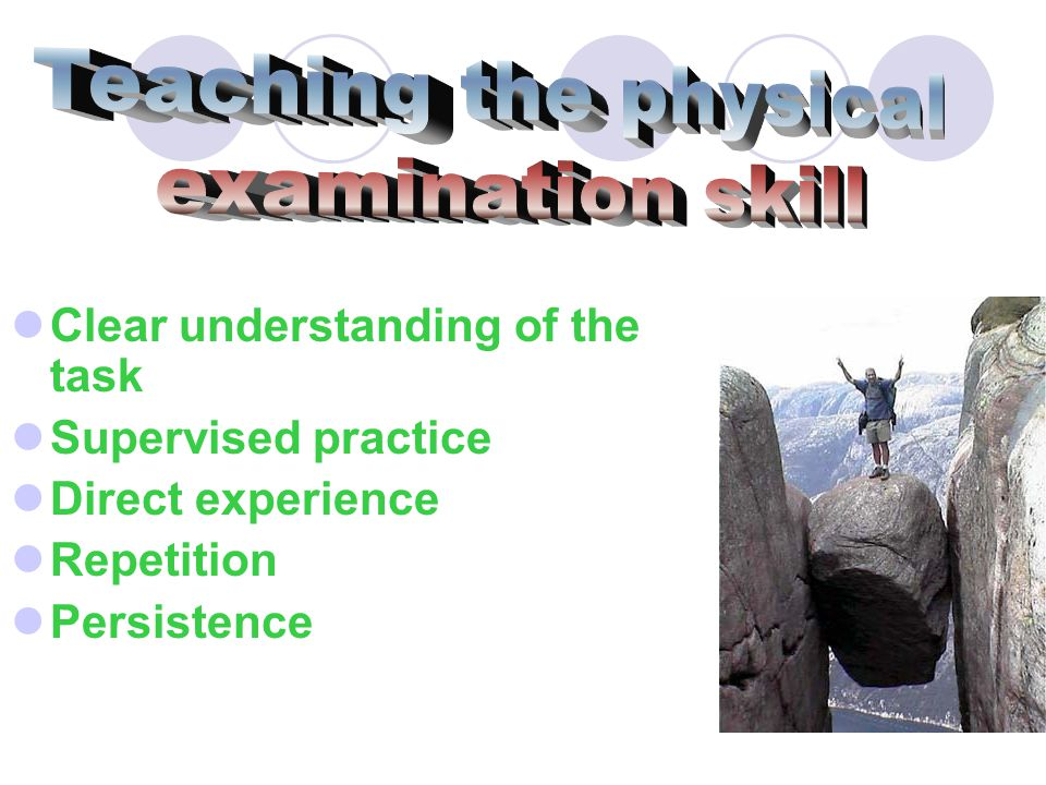 Teaching the physical examination skill