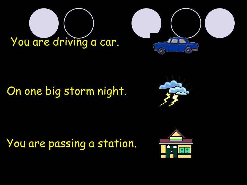 You are driving a car. On one big storm night. You are passing a station.