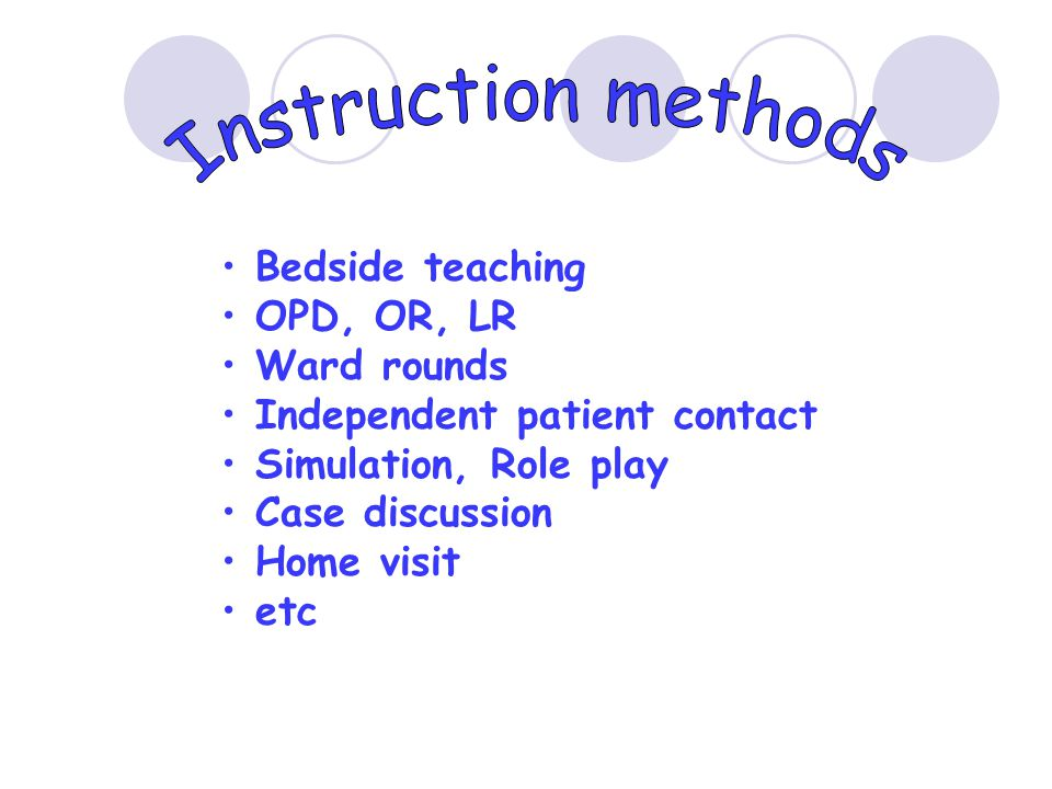 Instruction methods Bedside teaching OPD, OR, LR Ward rounds