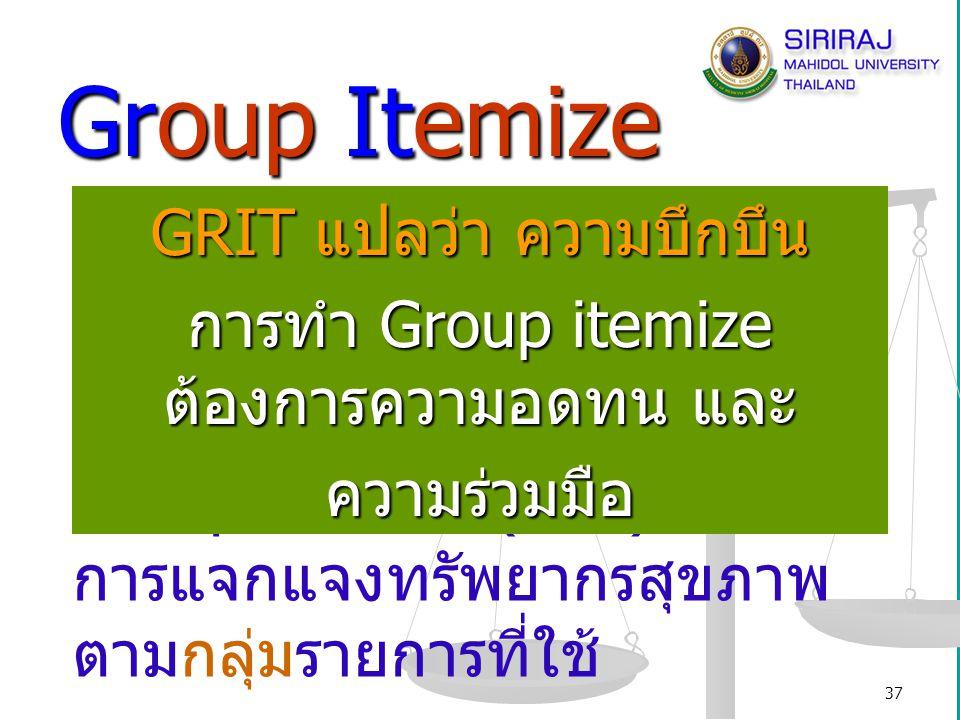 Group Itemize GRIT แปลว่า ความบึกบึน Group = กลุ่ม