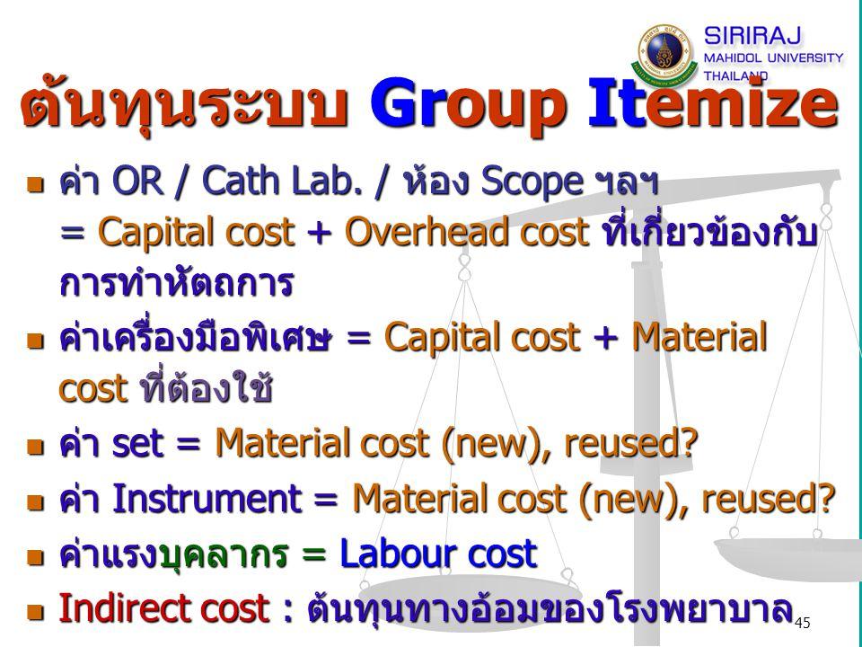 ต้นทุนระบบ Group Itemize