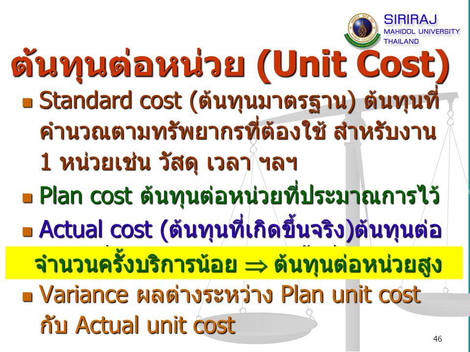 ต้นทุนต่อหน่วย (Unit Cost)