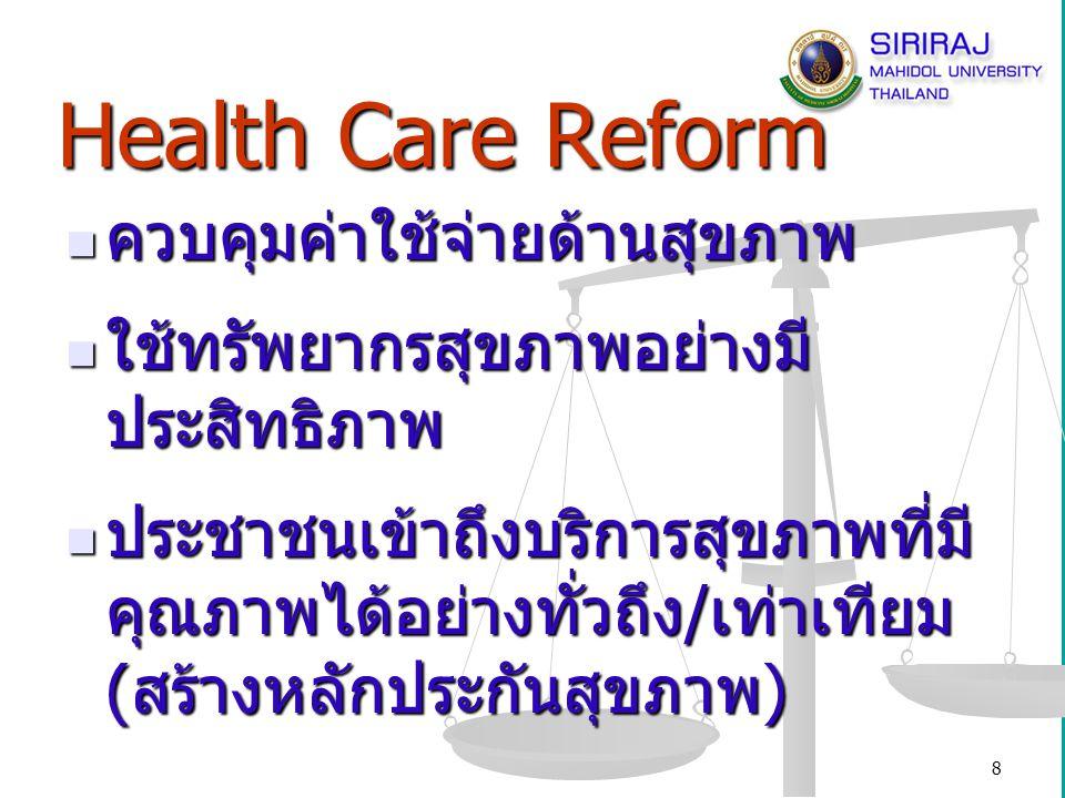 Health Care Reform ควบคุมค่าใช้จ่ายด้านสุขภาพ