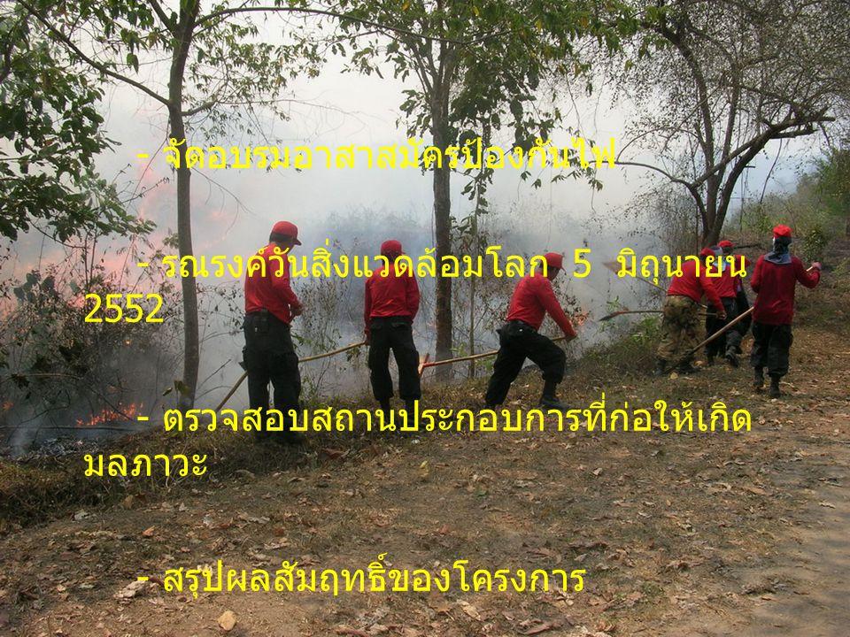 - จัดอบรมอาสาสมัครป้องกันไฟ