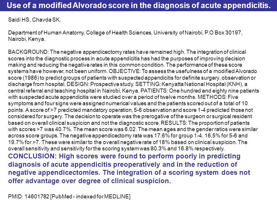 Use of a modified Alvorado score in the diagnosis of acute appendicitis.