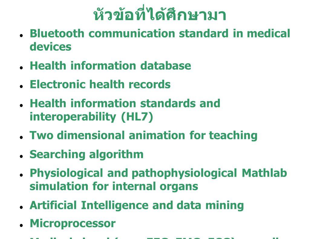 หัวข้อที่ได้ศึกษามา Bluetooth communication standard in medical devices. Health information database.
