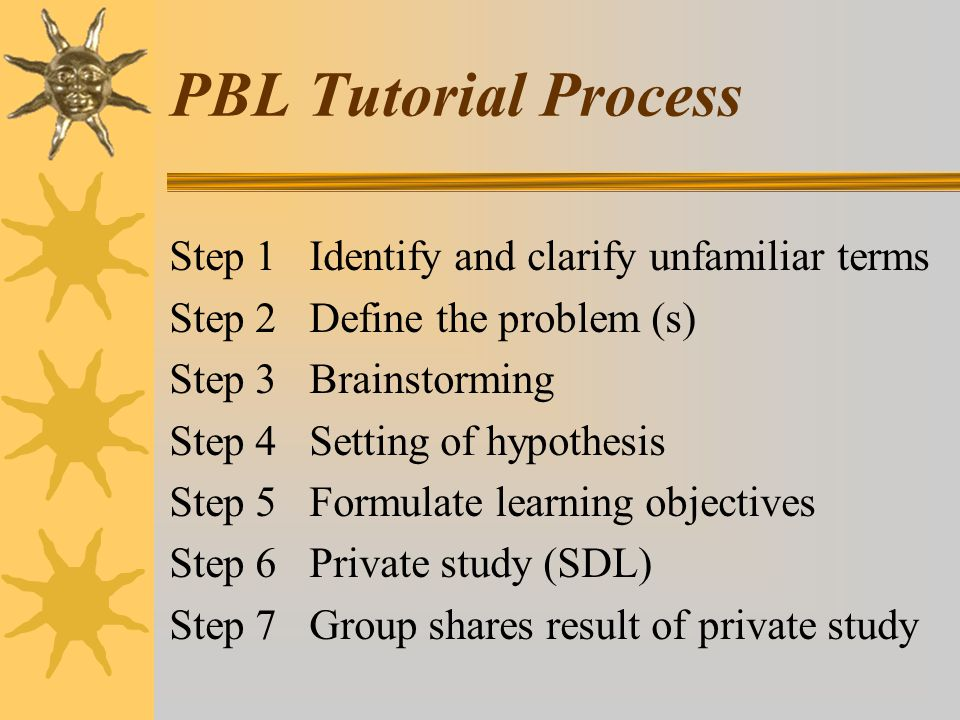 PBL Tutorial Process Step 1 Identify and clarify unfamiliar terms