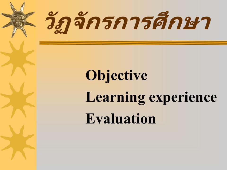 วัฏจักรการศึกษา Objective Learning experience Evaluation
