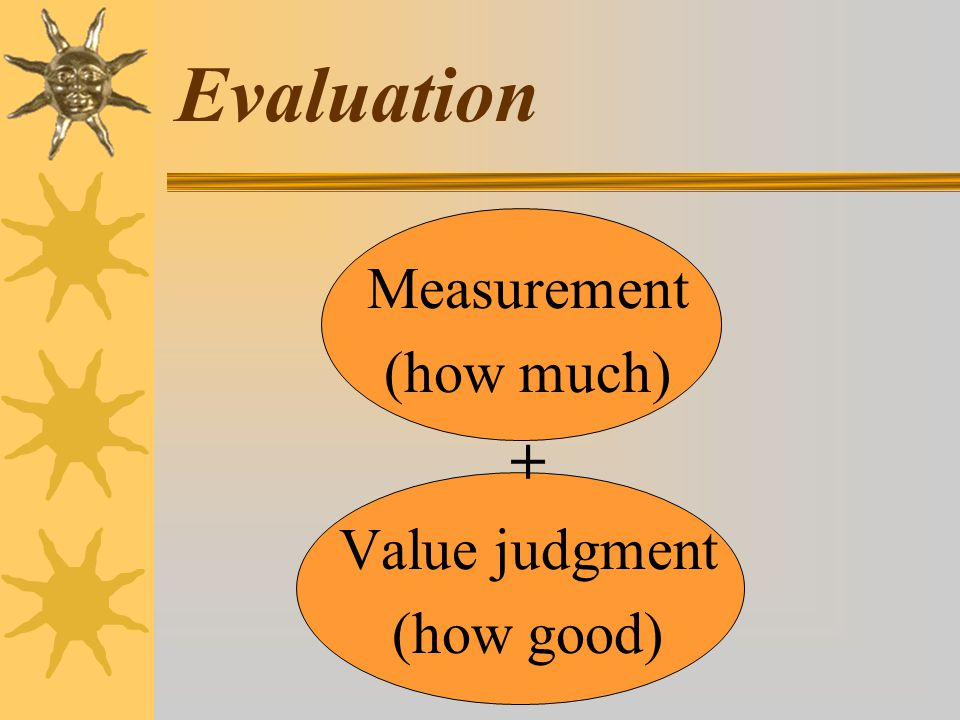 Evaluation Measurement (how much) + Value judgment (how good)