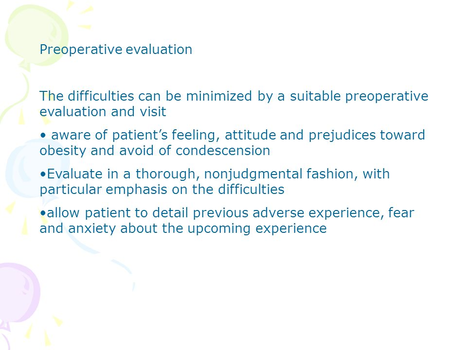 Preoperative evaluation