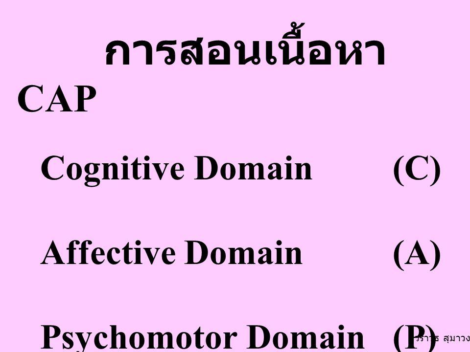 การสอนเนื้อหา CAP Cognitive Domain (C) Affective Domain (A)