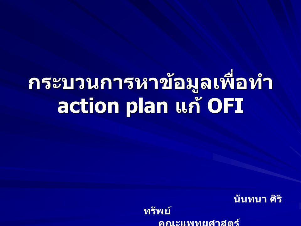 กระบวนการหาข้อมูลเพื่อทำ action plan แก้ OFI