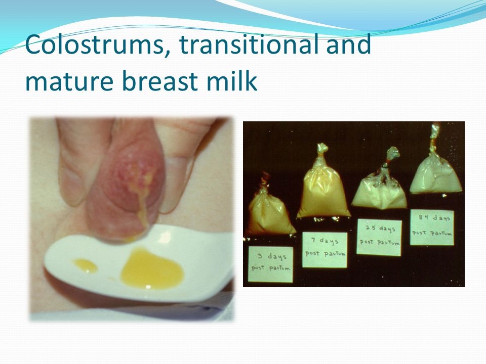 Colostrums, transitional and mature breast milk