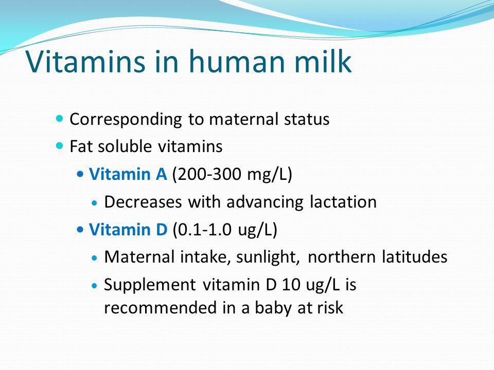 Vitamins in human milk Corresponding to maternal status