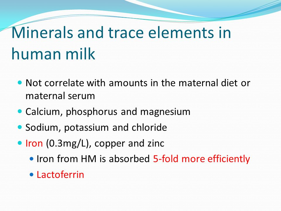Minerals and trace elements in human milk