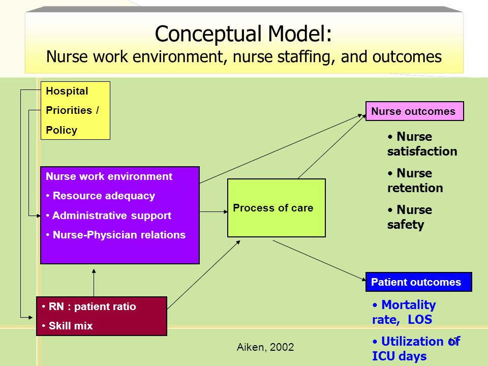 Conceptual Model: Nurse work environment, nurse staffing, and outcomes