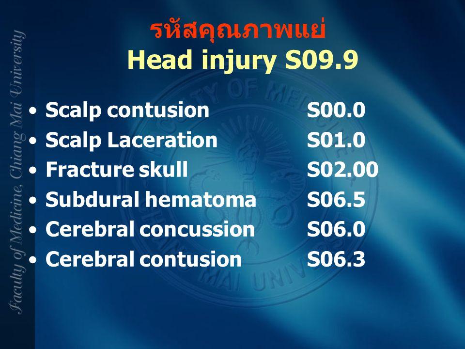 รหัสคุณภาพแย่ Head injury S09.9