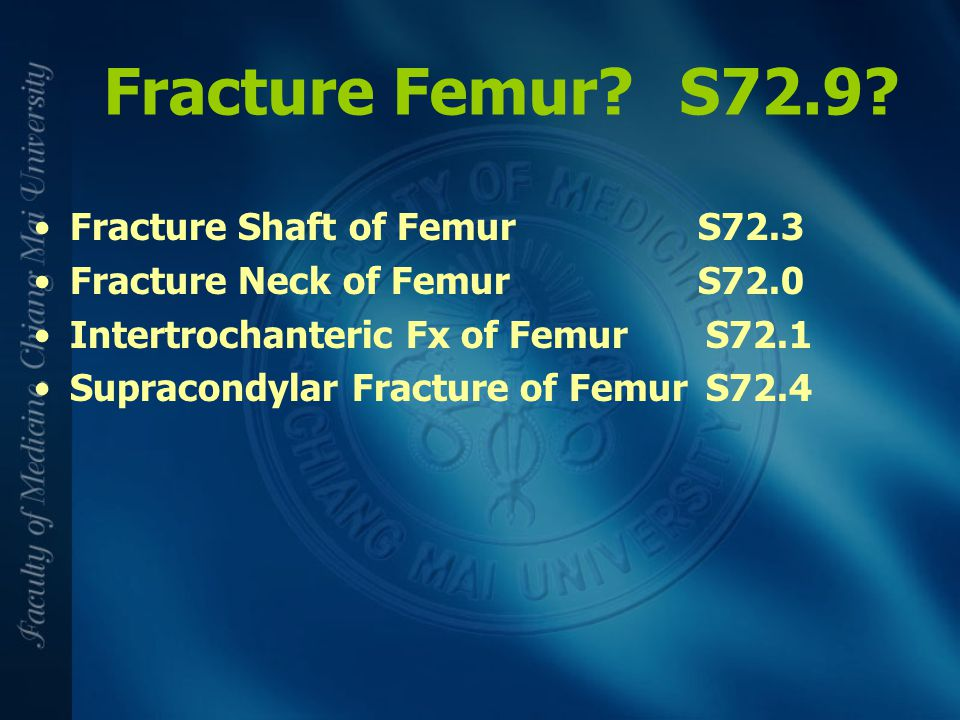 Fracture Femur S72.9 Fracture Shaft of Femur S72.3
