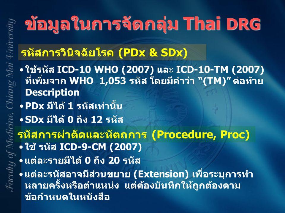 ข้อมูลในการจัดกลุ่ม Thai DRG