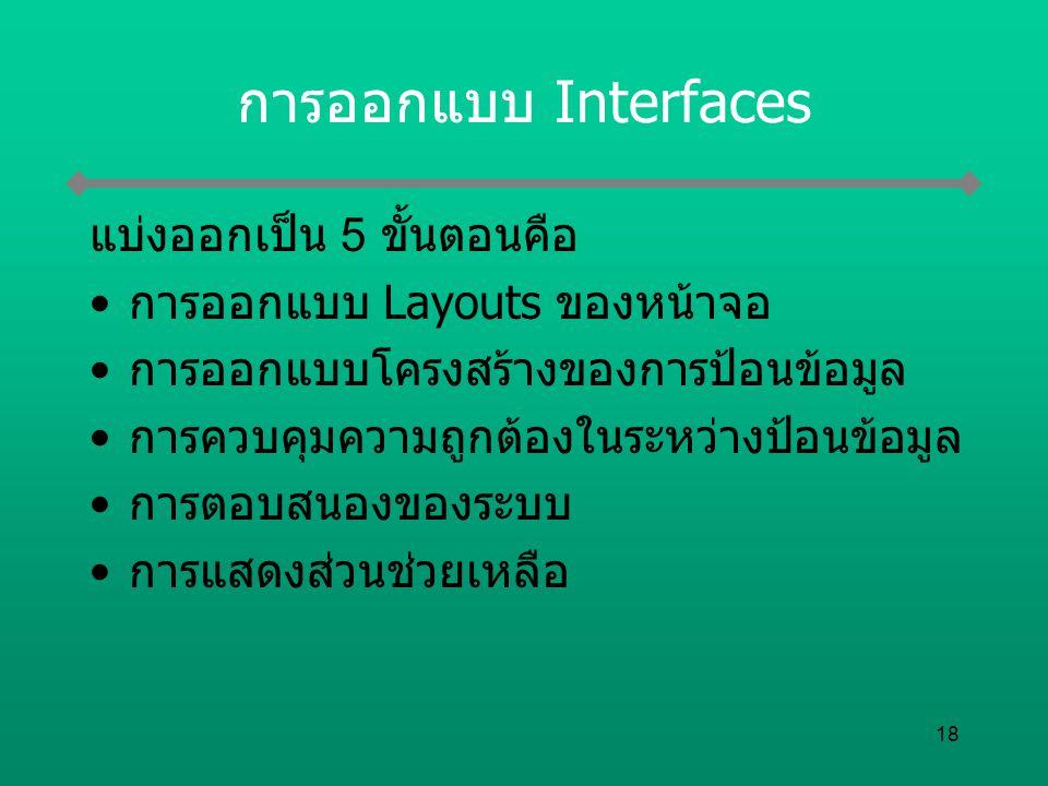 การออกแบบ Interfaces แบ่งออกเป็น 5 ขั้นตอนคือ