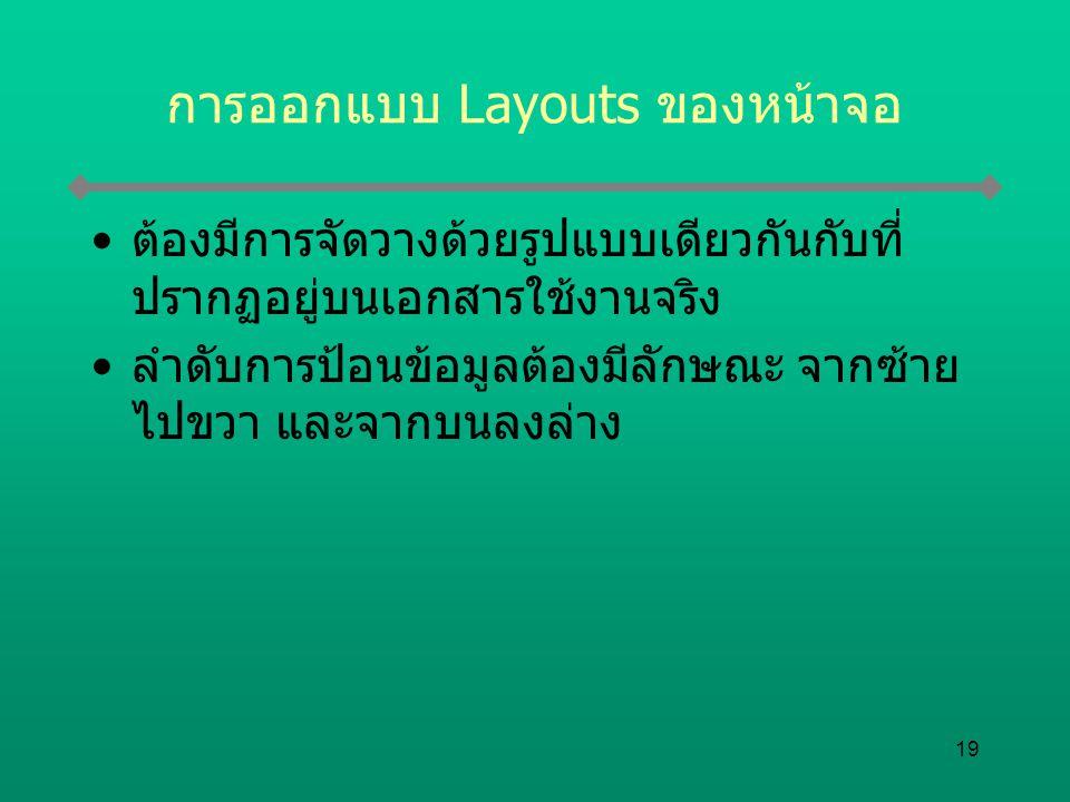 การออกแบบ Layouts ของหน้าจอ